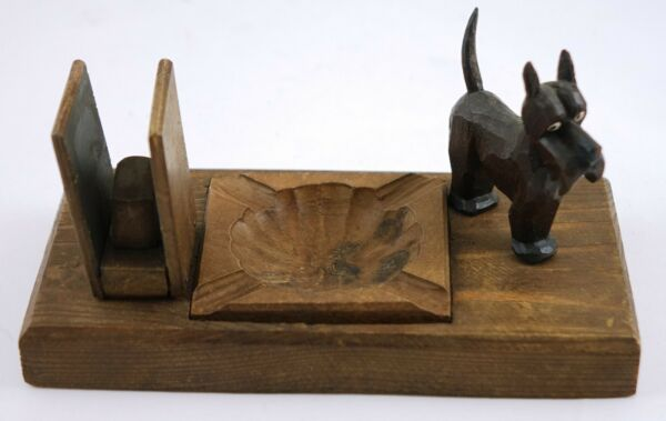 Vintage Wooden Dog Business Card Holder and Аshtray Germany $7.00