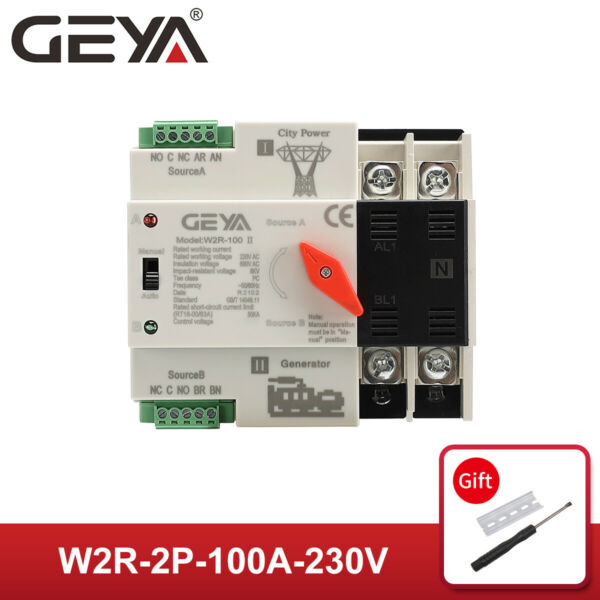 GEYA Dual Power Automatic Transfer Switch 2P 100A 63A 220V 5060Hz PC Level