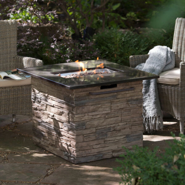 Large Fire Pit Table Propane Gas Outdoor Steel Frame Patio Deck Backyard W Cover