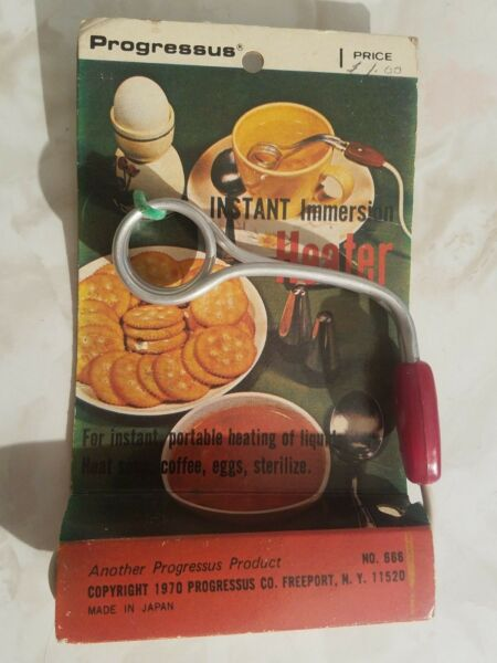 RARE VINTSGE INSTANT IMMERSION HEATER By Progressus #666 new in package 1970 $24.99