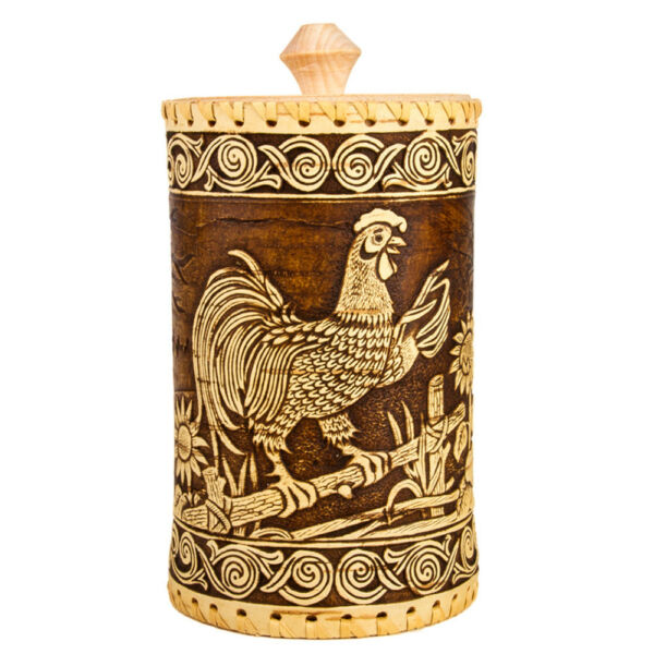 8quot; Tall Birch Bark Food Storage Container w Rooster. Made in Russia Wooden Box