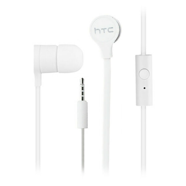HTC Tangle Free Wired Earbuds with In Line Remote Hands-Free Headset - Pack of 2