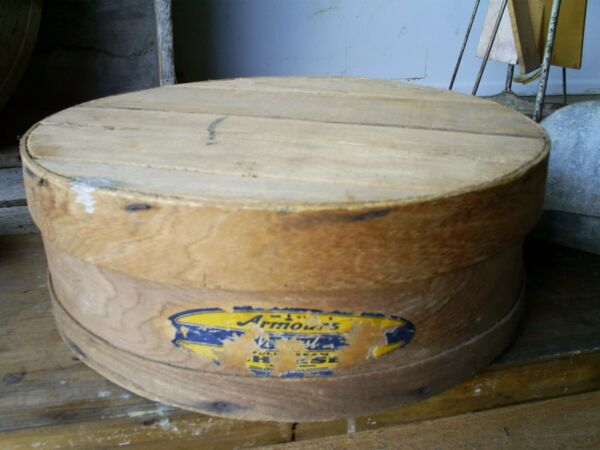 Antique Vintage ARMOUR VERIBEST Wood Cheese Box Round Pantry Box