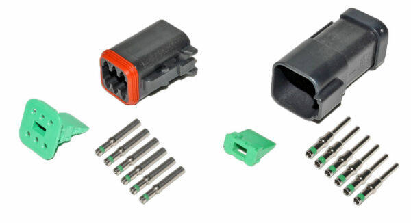 Deutsch DT 6 Pin Black Connector Kit 14 GA Solid Contacts