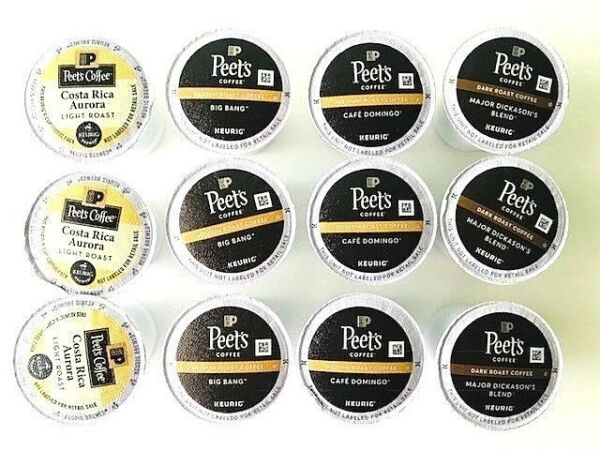 Peet's Coffee Variety Pack 12 Loose K-Cups 4 flavors 3 Light 6 Med 3 Dark Roast