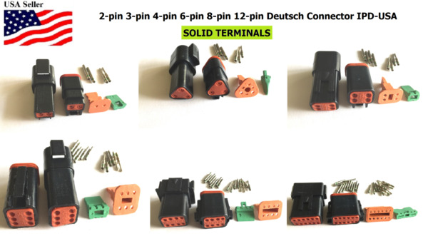 Deutsch 2,3,4,6,8,12 Pin Connector  Housing, Solid Green band Terminal 14-16 AWG