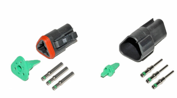 Deutsch DT 3 Pin Black Connector Kit 14 GA Solid Contacts