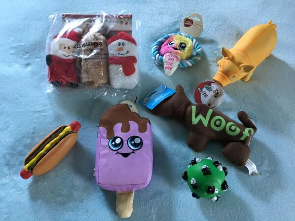 DOG TOYS FOR PUPPIES – SET OF 9 - VARIETY OF NEW PUPPY TOYS