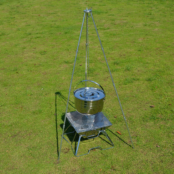 Tripod Camping Outdoor Cooking Campfire Picnic Pot Cast Iron Grill Oven