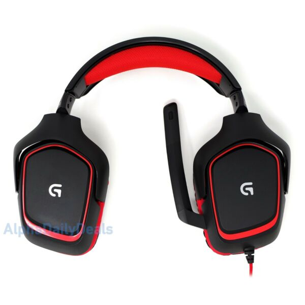 Logitech G230 Stereo Gaming Wired Headset Boom Mic Noise Cancelling Black Red