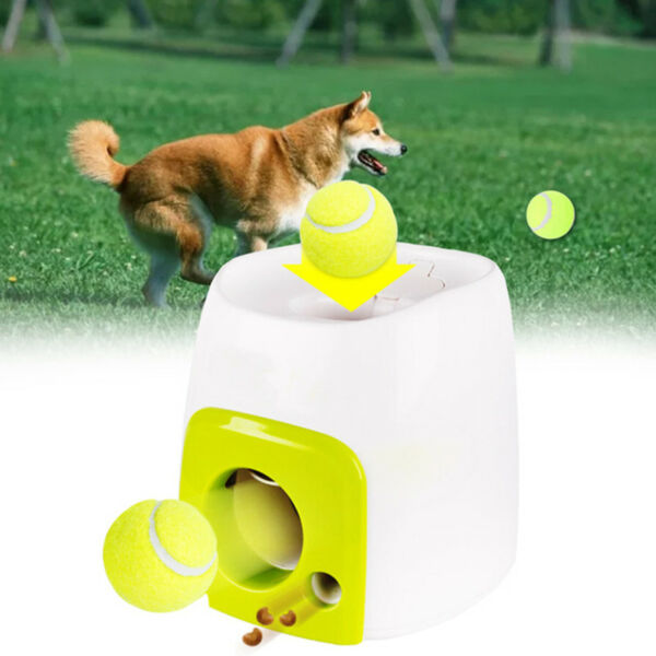 Automatic Pet Dog Launcher Tennis Ball Interactive Fetch Chucker Thrower ABS AZF