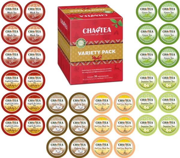 Cha4tea 36 Count K Cups Variety Tea Sampler Multi Flavors Pack Green Black Teas