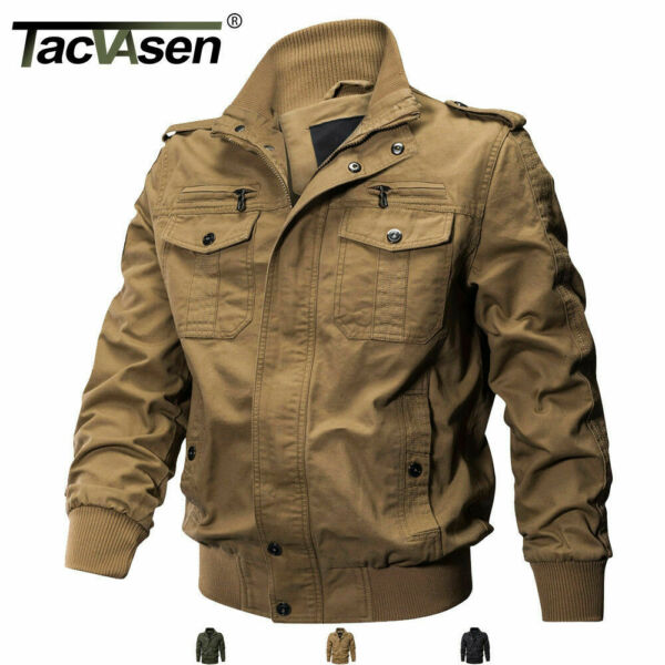 Tactical Men#x27;s Military Cargo Jacket Cotton Coat Army Airborne Bomber Jacket Man