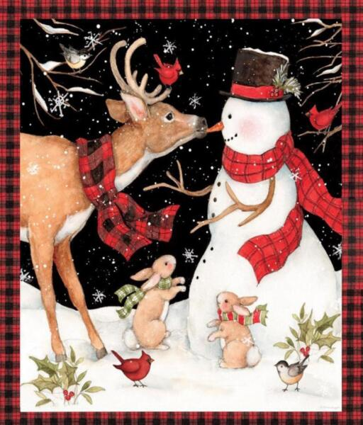 CHRISTMAS WINTER SNOWMAN WITH REINDEER COTTON FABRIC BY THE PANEL