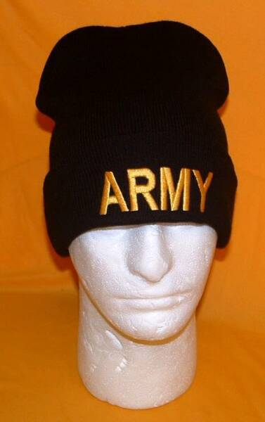 US Army Gold Block Licensed Embroidered Military Beanie Winter Skull Cap.