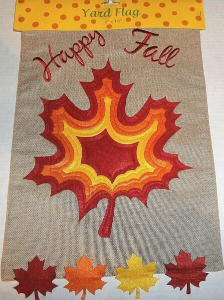 DECORATIVE YARD FLAG 12quot; x 18quot; HAPPY FALL COLORFUL LEAVES Burlap Material