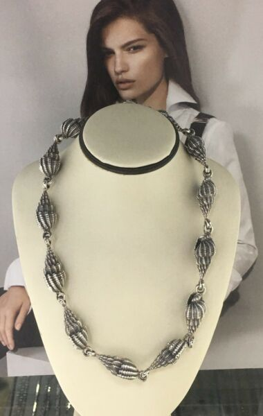 Stunning Vintage Unisex Solid Sterling Silver 925 Choker Seashell Necklace 16