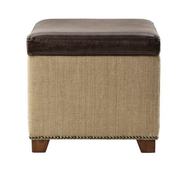 Ethan Brown Cube Storage Ottoman Seat Leather Lid Footrest Footstool Home Decor