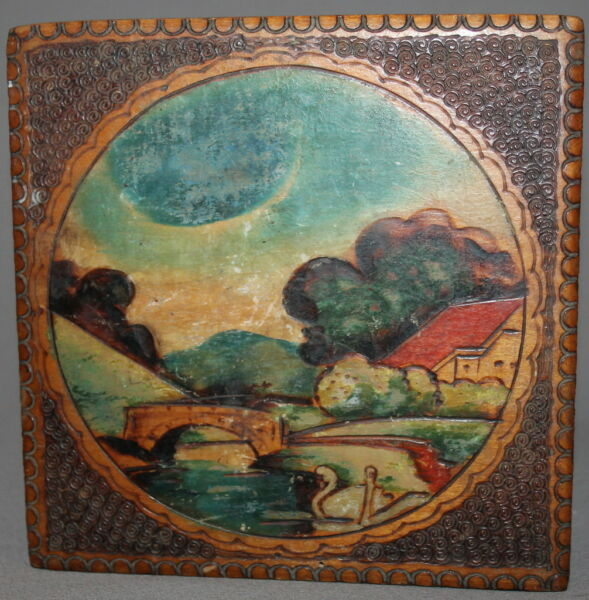 ANTIQUE ORNATE PYROGRAPHY HAND PAINTED WOOD BOX LANDSCAPE