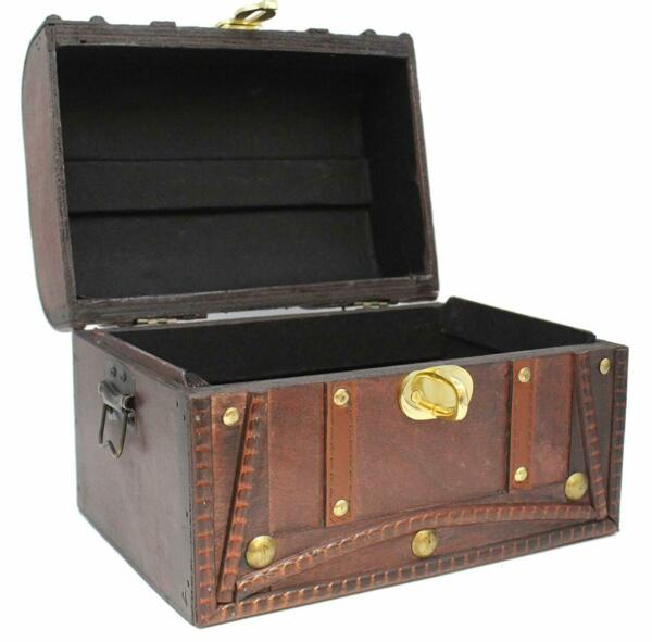 Wooden Trunk Treasure Chest Plus Large Lock & Key Leather Decorative Box