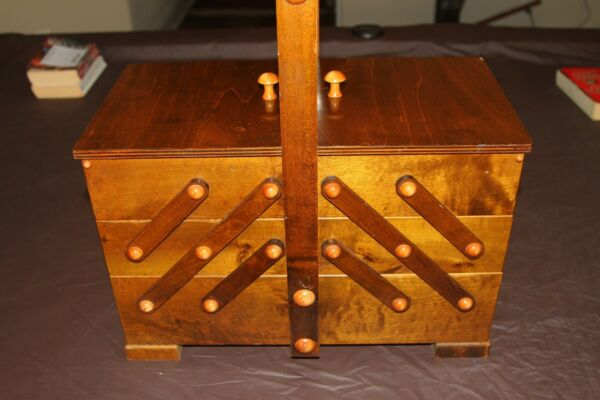 Vintage Accordion SEWING Box Solid Wood Sewing Chest With wood Dowel Knobs