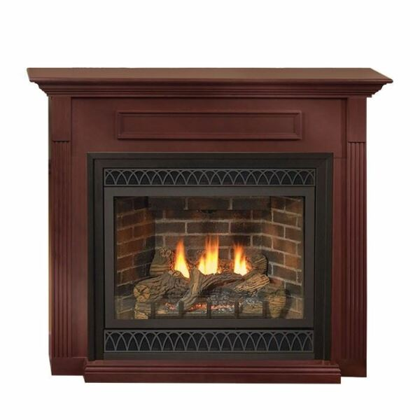 42-Inch DV Gas Fireplace with Blower in Cherry Mantel Millivolt NG