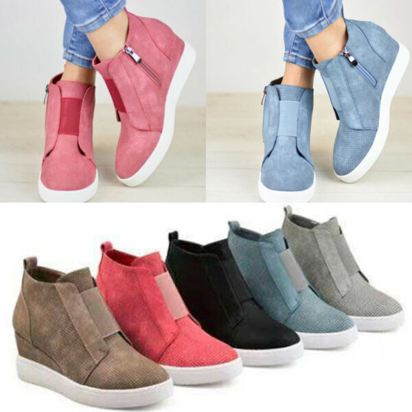 Womens Hidden Wedge Low Mid Heel Ankle Boots Sneakers Trainers High Top Shoes