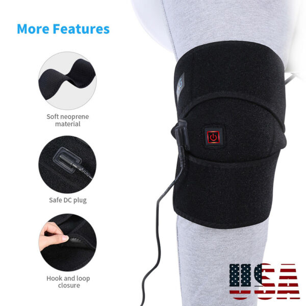 Electric Heated Knee Brace 3 Heat Settings Knee Heating Pad Wrap Heat Therapy