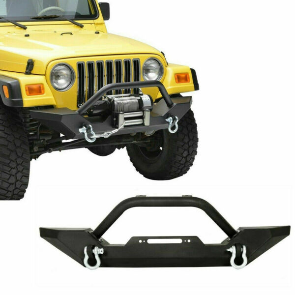 Textured Black Front Bumper W Instruction+D-Rings For Jeep Wrangler 87-06 TJ YJ