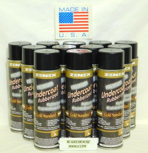 12 Aerosol Cans Zenex Premium Rubberized Professional Black Undercoating Sealent