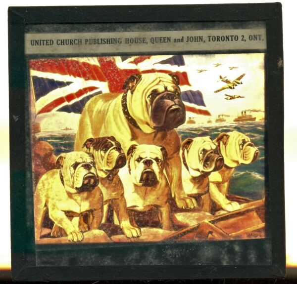 Toronto Canada English Bulldog WWII Patriotic Vintage Glass Slide . dog military $65.00