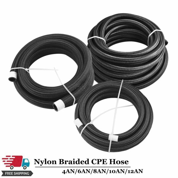Black Fuel Hose Oil Gas Line AN4 AN6 AN8 AN10 AN12 Nylon Stainless Steel Braided