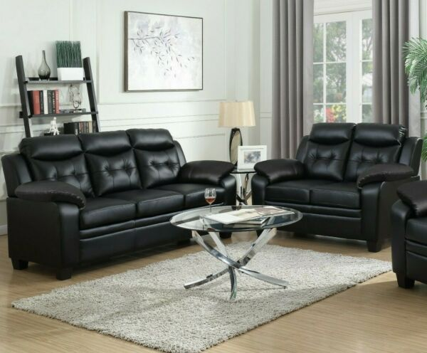 Modern Casual 2 Piece Faux Leather Sofa Set with Couch amp; Loveseat Black $1199.99