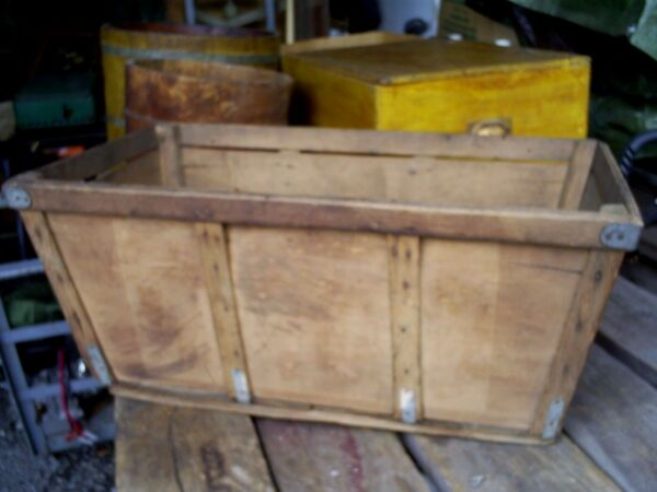 Vintage Antique Wood Fruit Banana Crate Box Bin Store Produce