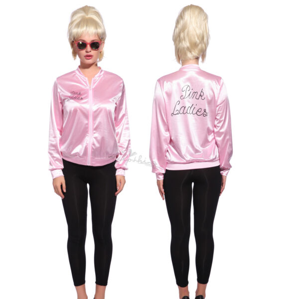 Retro 1950s Grease Pink Ladies Jacket Costume TShirt Party Fancy Dress Size 6 24 $20.88