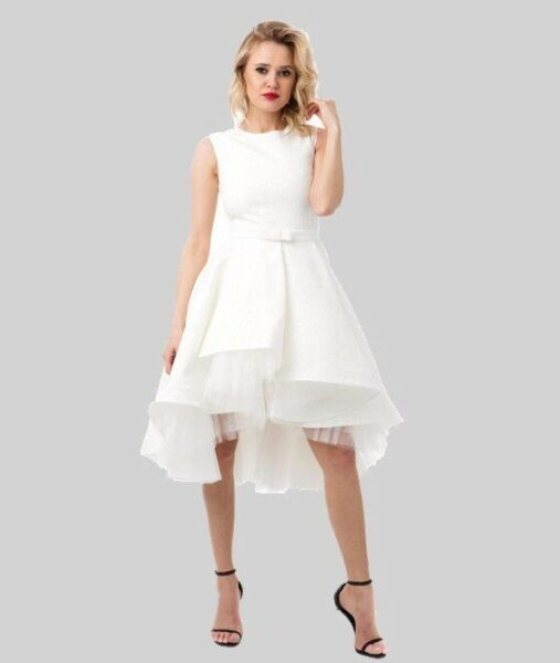 White jacguard prom cocktail dress BOUTIQUE NWT Medium