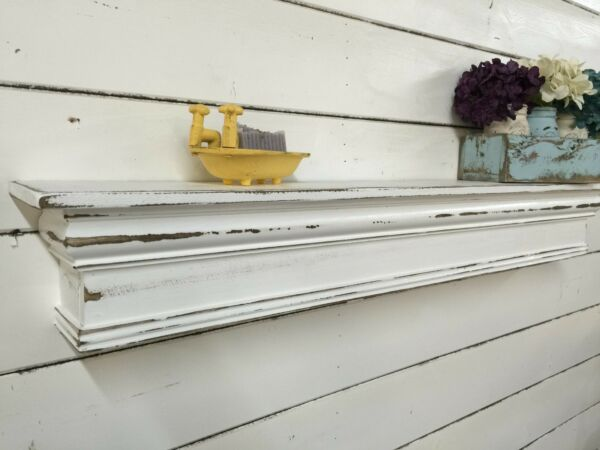 vintage style mantle shabby chic floating shelf farmhouse mantle 48 inches