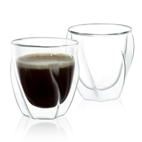 JoyJolt Lacey Double Wall Insulated Glasses 8.5 Oz Set of Two Coffee Mugs $19.92