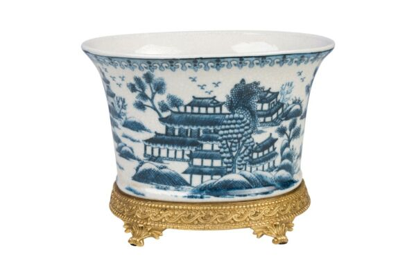 Beautiful Oval Blue and White Blue Willow Porcelain Flower Pot Ormolu Base 7.5quot; $219.99