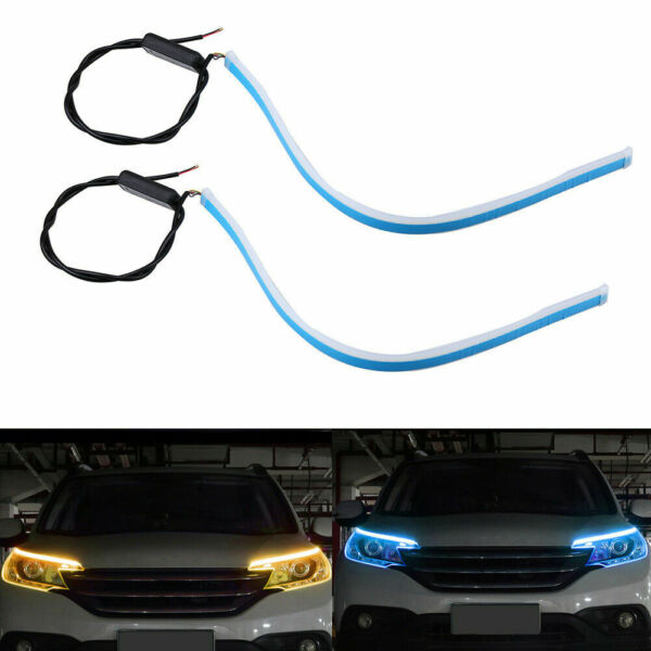 Set 45cm Flexible Soft Tube LED Strip Light DRL Daytime Running Turn Signal Lamp