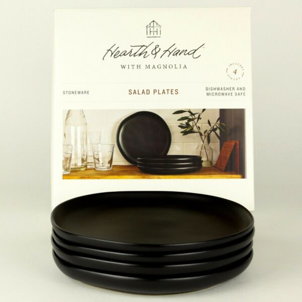 Set of 4 - Hearth and Hand Magnolia - Matte Black Stoneware 8-Inch Salad Plates