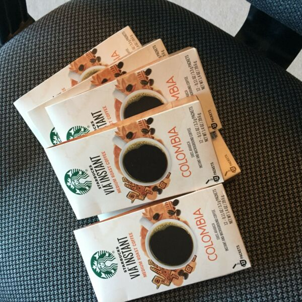Starbucks  72 packets  (6 BOXES)  via instant Colombia medium roast