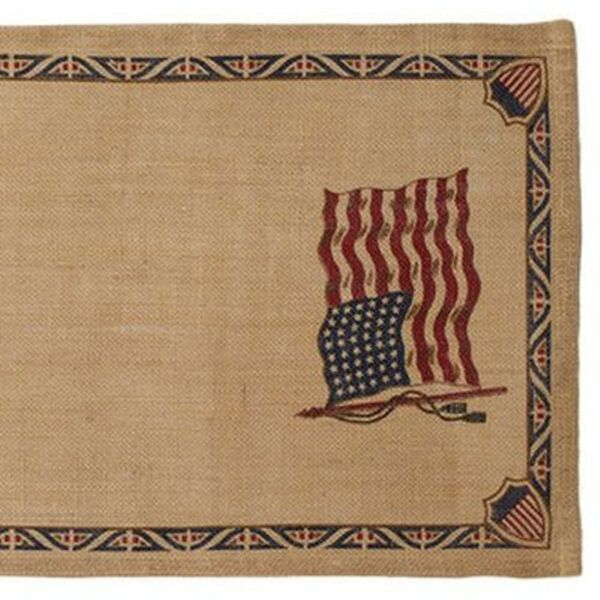 OLD GLORY Flag Burlap Table Runner Americana Stars amp; Stripes 13quot; X 54quot; Patriotic