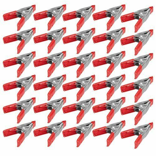 30x 2 inch Mini Metal Spring Clamps w Red Rubber Tips Tool LOT of 30 Pcs Pack