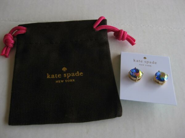 NWT Kate Spade NY Gold Tone Gumdrops Round Studs Earrings Iridescent Crystals