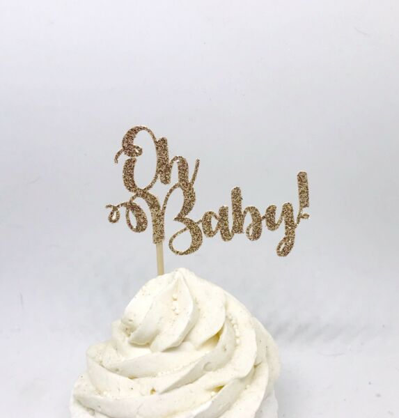 Oh Baby Cupcake Toppers Oh Baby Gold Glitter Cupcake Toppers