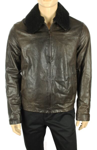 THE MENS STORE BLOOMINGDALES MADE IN ITALY 100% LAMBSKIN PILOT JACKET L $850