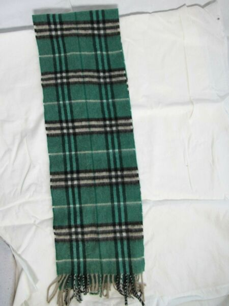 100% Authentic Burberry Green Check Cashmere Thin Scarf $275.00