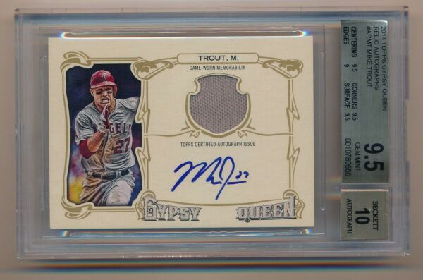 2014 Gypsy Queen * MIKE TROUT * On Card Auto Jersey * #2325 BGS 9.510 * POP 1