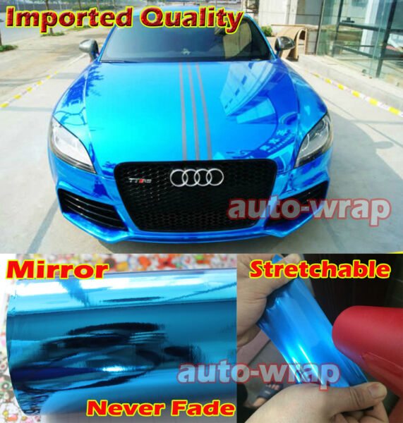 Select Flat Car Glossy Mirror Chrome Vinyl Wrap Film Sticker Blue - Stretchable